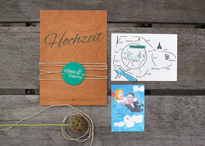 Kreativit t mit herz hochzeit und design for Hochzeitseinladung holz